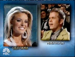 Miss California being asked question by Perez Hilton